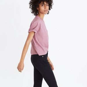 Madewell Lavender Cropped Pocket Tee